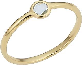KoolJewelry 14k Yellow Gold Genuine Amethyst or Blue Topaz Ring Minimalist Jewelry For Women
