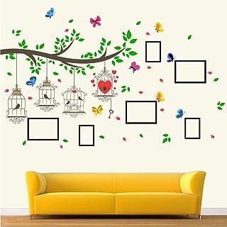 StickMe 'Family Photo - Frame - Tree - Birds Cage - Butterfly - Wall Sticker ' -SM636 (Multi Colour, Vinyl - 150cm X 100 cm )