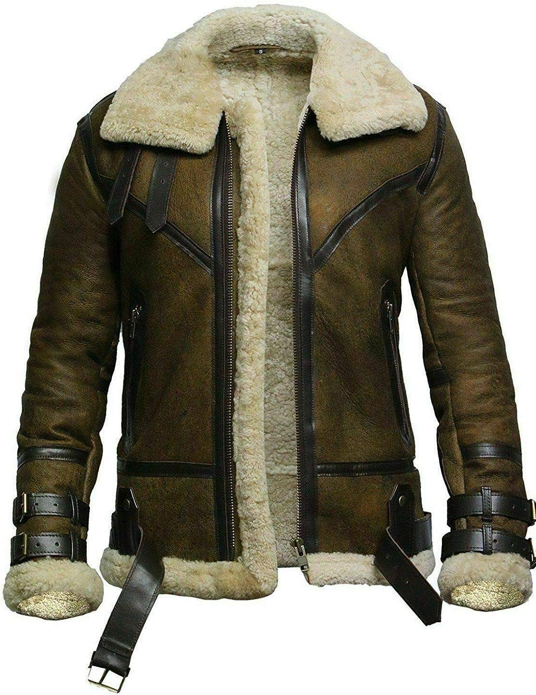 B3 RAF Men Pilot Dunkirk Flying Aviator Sheep Bomber Shearling Fur Genuine Leather Jacket