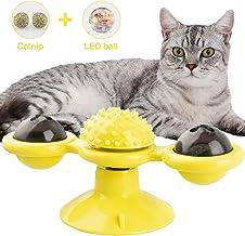 NOBRANDED Juguetes interactivos para Gatos, Juguete de Molino de Viento para Gato, Juguete Giratorio para Gatos con Ventosa Cepillo para el Cabello Accesorios para Mascotas Juego Loco (Amarillo)