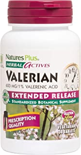 NaturesPlus Herbal Actives Valerian Extended Release Tablets - 600 mg, 30 Vegan Tablets - Natural Sleep Support Supplement...