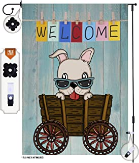 HenMik Small Garden Flag for Outside - Dog Welcome Garden Flags 12 X 18 - Double Sided Yard Flags - Outdoor Flags Decorative Flags for House Porch Mailbox - Jolly Yard Décor and Garden Décor
