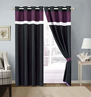 Modern 4 - Piece Color Block Purple, Black, White Grommet Curtain Set Drapes/Window Panels 120