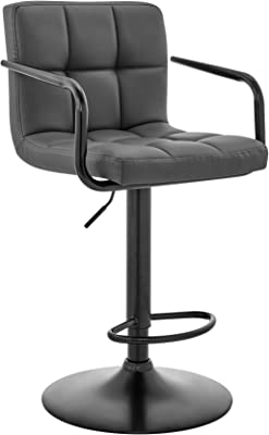 Laurant Adjustable Gray Faux Leather Swivel Bar Stool