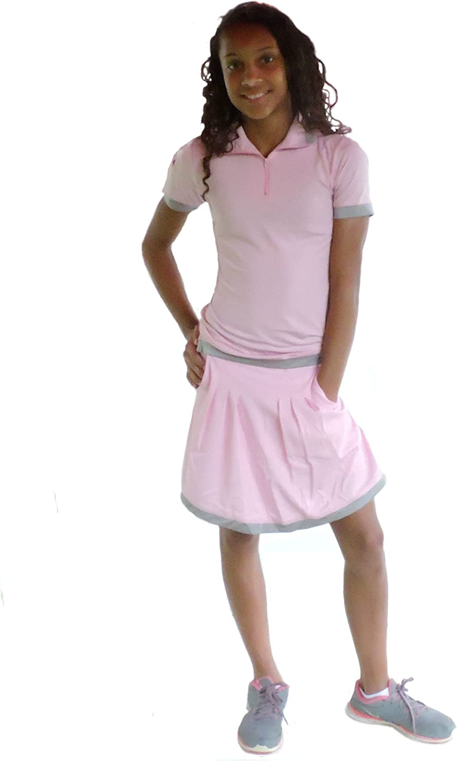 Sephlin  Lady Womens Natalia Pink and Silver Pleats Skort