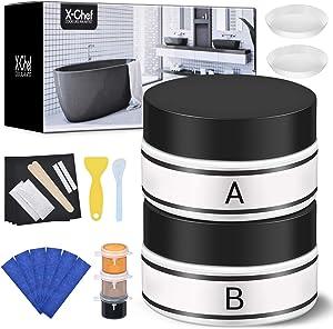 X-Chef Tub Repair Kit Color Match, Fiberglass Tub Repair Kit for Cracks and Holes Repair on Acrylic and Porcelain Surface, Shower Repair Kit for Tile, Sink Repair