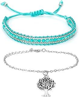 YooAi Braccialetto con Perline di Cristallo Multistrato Braccialetto a Catena con Albero della Vita Braccialetti in Corda ...