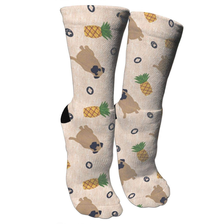 靴下 抗菌防臭 ソックス プリミティブパグとパイナップルアスレチックスポーツソックス、旅行&フライトソックス、塗装アートファニーソックス30 cmロングソックス