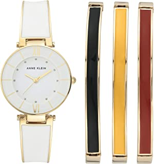Women's Glitter Accented Gold-Tone and White Watch with Bangle Set, AK/3510GPST