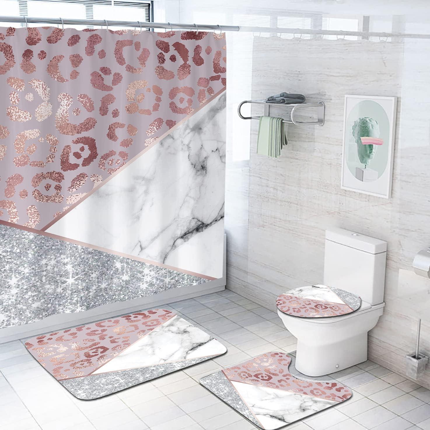 Coxila Leopard Marble Shower Curtain Sets online shopping Bath Decor P San Francisco Mall Pcs Mat 4