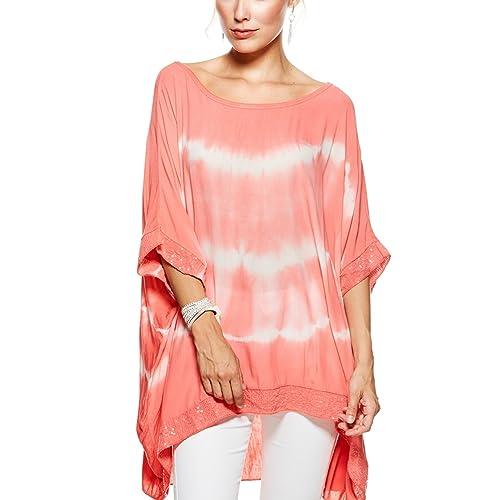 36d43abf1d8 Sevello Clothing Ladies Womens Italian Lagenlook Tie Dye Sequin Trim Baggy  Top Short Sleeve Sequin Hem