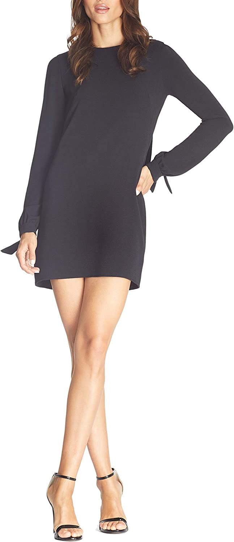 Dress the Population Women's Dahlia Longsleeve Open Cowl Back Short Cocktail Dress, Black, XXS
