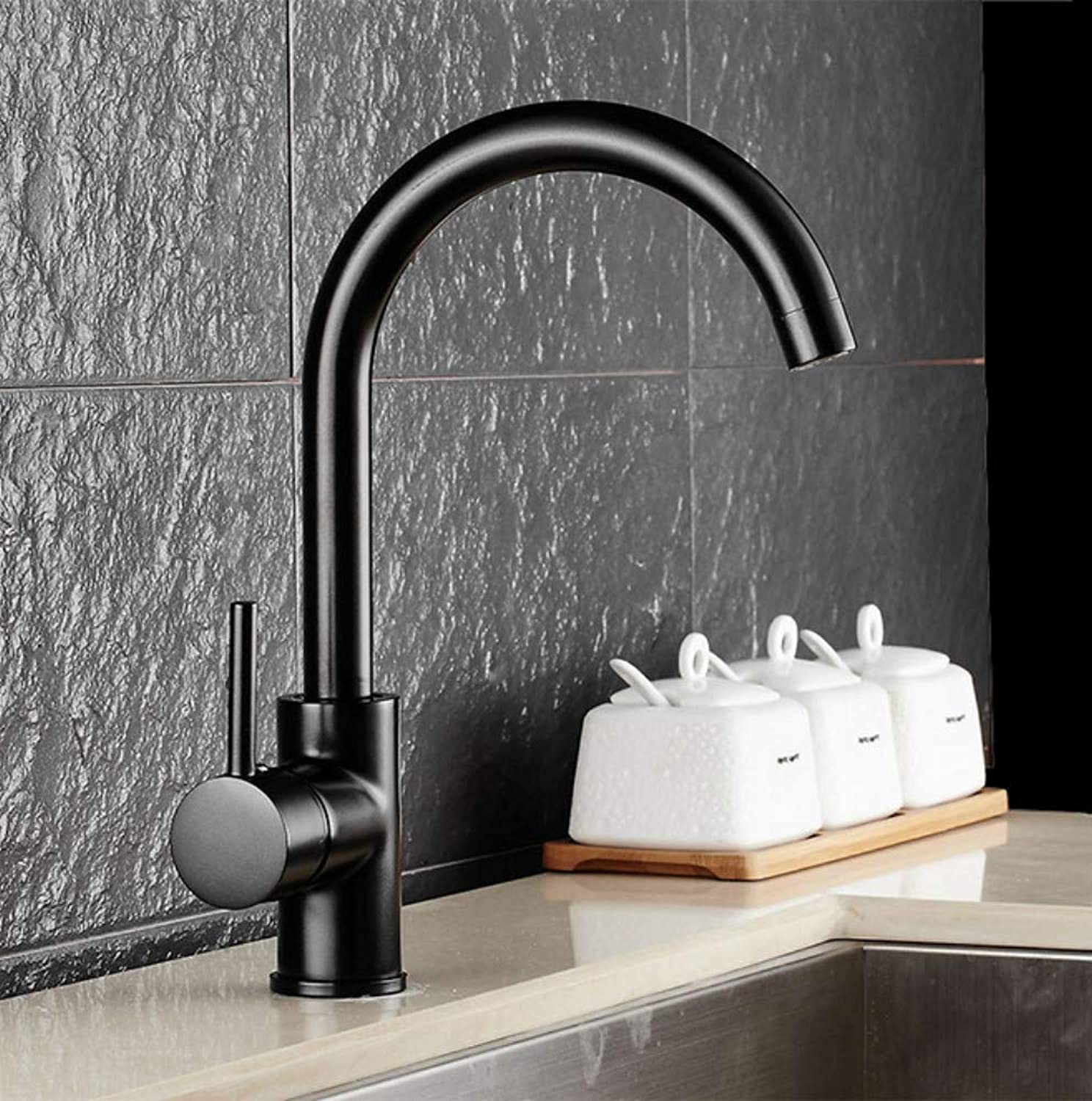 Xiujie Faucet Copper Black Kitchen redatable Faucet Single Handle Single Hole Hot and Cold Sink Elbow Faucet