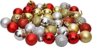 Evisha 36 Pcs Golden, Red and Silver Colour Glitter Small Balls for Christmas Tree Decoration Hanging Ornaments