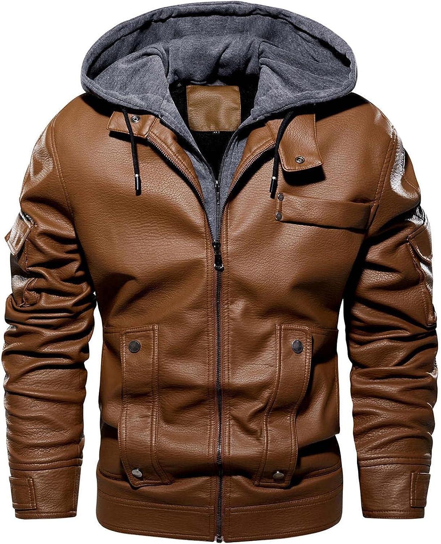 WoCoo Men's PU Faux Leather Jackets Full Zipper Hooded Motorcycle Bomber Jacket Thicken Thermal Windbreaker Biker Coats