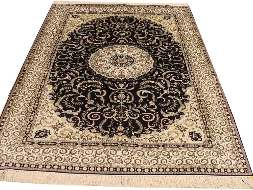 YILONG CARPET 6'x9' Black Hand Knotted Silk Persian Rugs Area Vi Cheap mail order National uniform free shipping specialty store