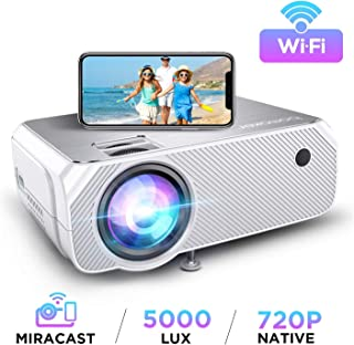 BOMAKER LCD WiFi Projector, Upgraded 4500 Lux, Portable HDMI Projector, Full HD 1080P Supported, Wireless Screen Mirroring...