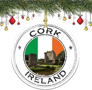 VinMea Xmas Hanging Ornament Ireland Cork Blarney Castle Seal Christmas Tree Decoration Keepsake Ornament Porcelain Christ...