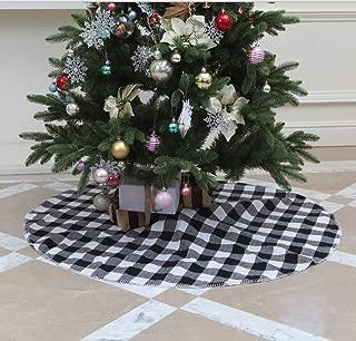 VGIA 48 inch Christmas Tree Skirtrt White and Black Buffalo Check Tree SkirtChristmas Decoration
