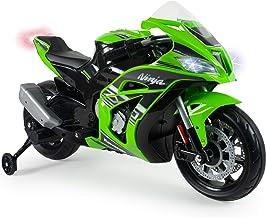 INJUSA – Moto Ninja Kawasaki ZX10 a 12V con Acelerador en Puño, Entrada para Mp3 y Ruedas Estabilizadoras Recomendada a Niños +3 Años