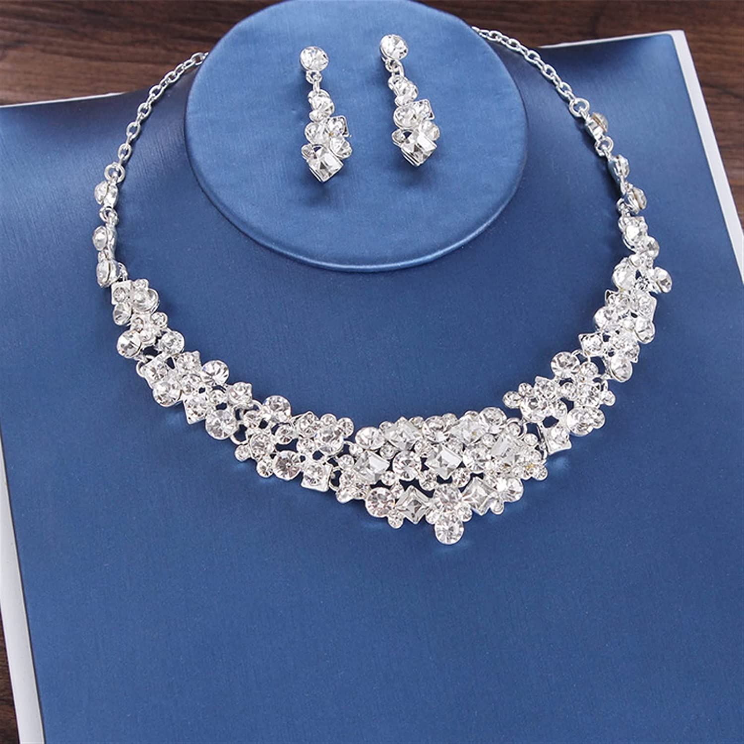 YUANBOO Baroque Luxury Crystal Beads Bridal Jewelry Set Rhinestone Crown Tiara Earrings Necklace Set Weddings African Beads Jewelry Sets (Metal Color : 2Pcs Jewelry Set)