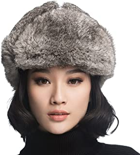 Black Leather Rabbit Fur Aviator Hat