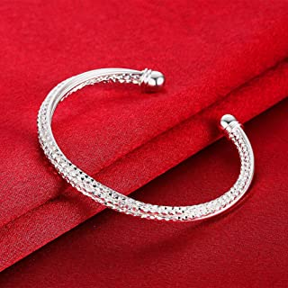 ARB Market 6.75 Inch 925 Sterling Silver Diamond Cut Cuff Ball End Open Bangle Bracelet Perfect Gift - Ideal Gift For Any Occasion, Memorial, Celebration, Anniversary And Birthday (Silver)