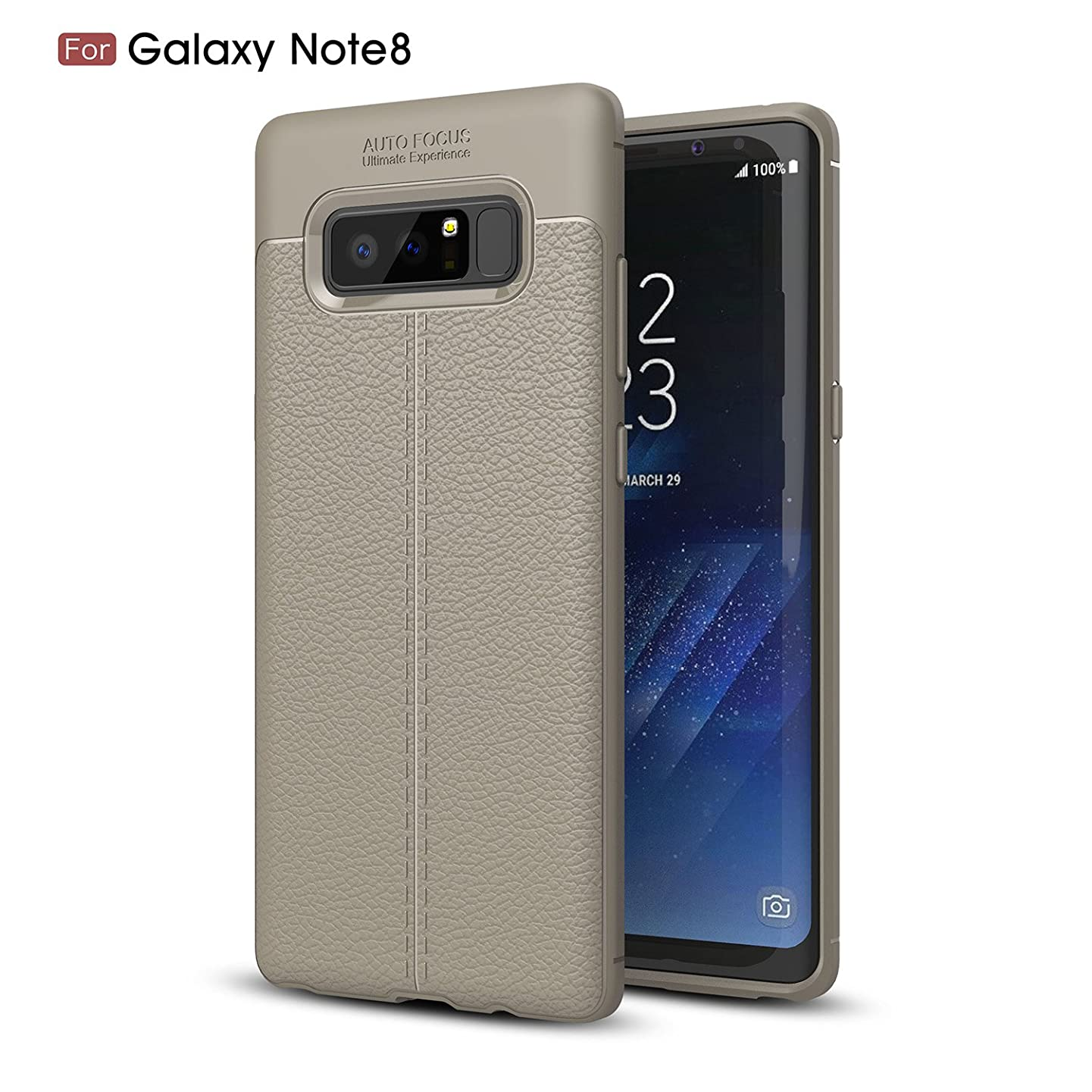 for Samsung Galaxy Note 8|Note 9 Phone Case Thin Slim Silicone Litchi Grain TPU Leather Shock-Absorption Protective Cover