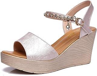 Vrouwen Shining Strass Enkelband Platform Sleehakken Sandalen Dames Mode Zomer Strand Schoenen