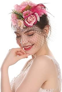 Fascinator Hat Mesh Flower Headwear Girl Feathers Hair Clip Hat on The Top Woman Mesh Derby Church Cap