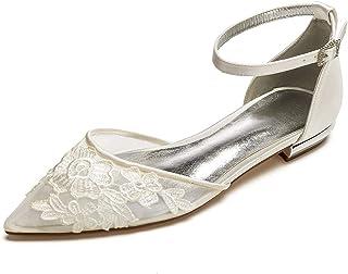 1bac9c26de Charmstep Bailarina de satén con correa de tobillo y puntera en punta Zapatos  de boda para