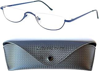 Half Maantje Leesbril, inclusief GRATIS Brillenkoker, Metaal Retro Montuur (Blauw), Leeshulp Vrouwen en Mannen +1.5 Dioptrie