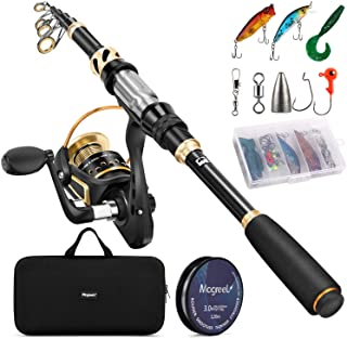 Magreel Telescopic Fishing Rod and Reel Combo Set with Fishing Line, Fishing Lures Kit& Accessories and Carrier Bag for Saltwater Freshwater