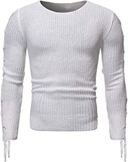 GAGA Men Round Neck Pullover Solid Color Knit Long Sleeve Tops T Shirt Sweater