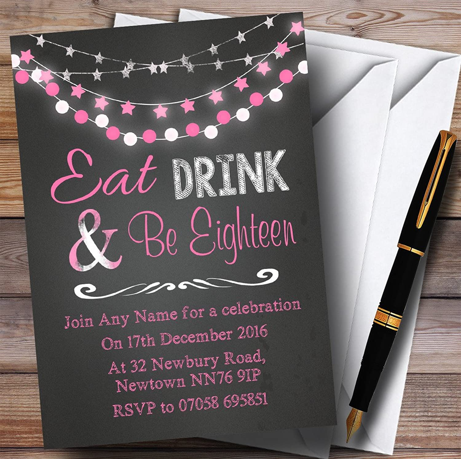 Chalk Pink Lights 18th Personalised Birthday Party Invitations