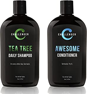 Challenger Men's Tea Tree Shampoo & Conditioner Combo, 2x 16 Oz Bottles | Sulfate Free w/Vitamins, Argan Oil, Biotin | Ker...