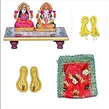 Indian Handicrafts Export Combo of Laxmi Ganesh Ji with Marble Choki, Laxmi Charan Paduka, Beautiful MATA Red Chunri & White Janeu Thread for Ganesh Ji |