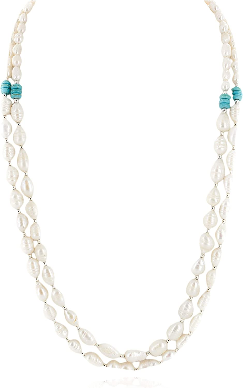 $300Tag Certified 2 Strand Navajo Cultured Pearl Native American Necklace 16098 Made by Loma Siiva