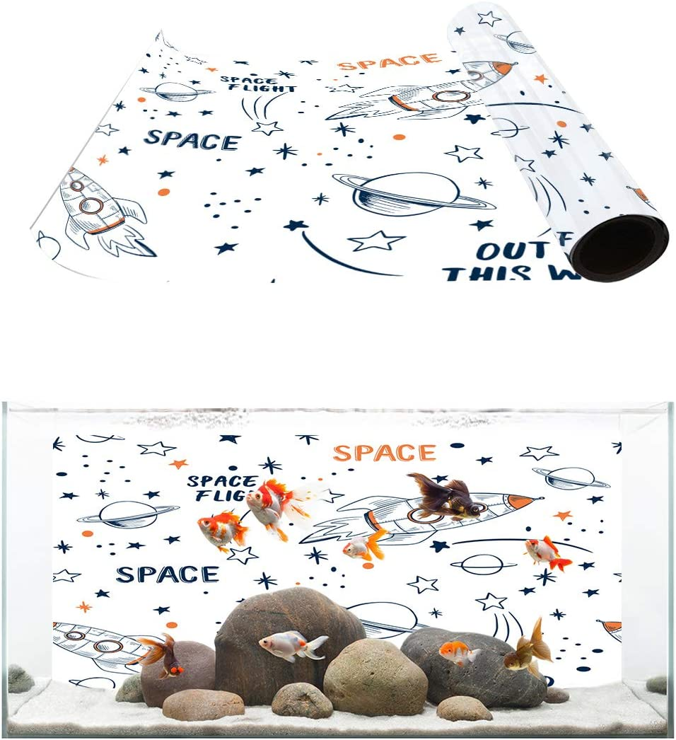 Dealing full price reduction Large-scale sale TH XHome Aquarium Décor Backgrounds Rocket Space Cartoon Patter