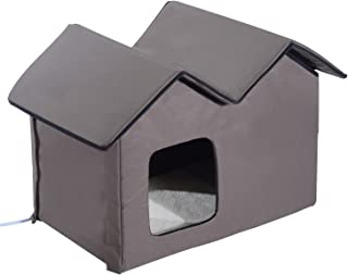 PawHut Large Indoor Outdoor Portable Water Resistant Heated Cat Shelter House