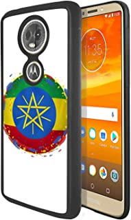 Soft Rubber Silicone TPU Anti Slip Edge and Hard Bottom Shell Case Compatible with Moto E5 Plus / E5 Supra - Rock Star with Guitar on Stage in Hippie Clothing