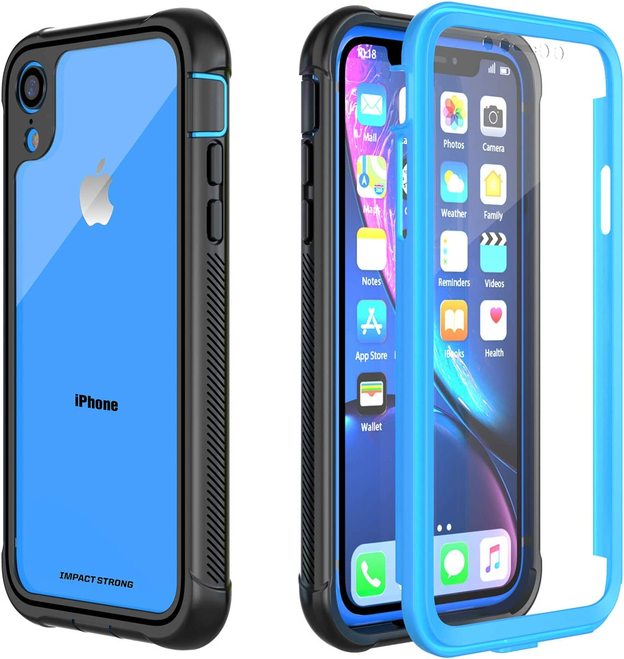 iPhone XR Clear Case, ImpactStrong Ultra Protective Case with Built-in Clear Screen Protector Dust Proof Design Clear Transparent Full Body Cover for iPhone XR 2018 6.1 inch (Blue)