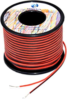 22 awg Silicone Electrical Wire 2 Conductor Parallel Wire line 200ft [Black 100ft Red 100ft] 22 Gauge Soft and Flexible Hook Up oxygen free Stranded Tinned copper wire