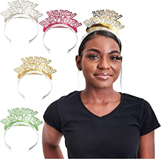 Happy Birthday Glitter Tiara Headbands (4 Colors, 24 Pack)