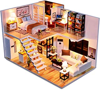 Spilay Dollhouse Miniature with Furniture, DIY Dollhouse Kit Handmade Mini Plus Duplex Apartment Home Model with Tools&Music Box ,1:24 Scale 3D Puzzle Creative Doll House Toys for Children Gift