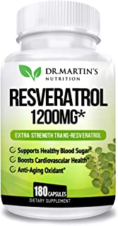 Extra Strength 100% Pure Resveratrol 1200mg - 180 Capsules - 3 Months Supply | Antioxidant Supplement | Natural Trans-Resv...