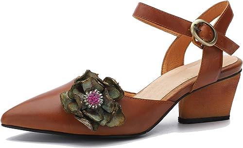 Sandales Mode à la Main en Cuir véritable pour Femmes Boucle et Fleurs Sandales à Talons Hauts Chaussures à Bout Pointu et Talon Bloc en été