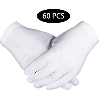 8 PAIR MENS COTTON LISLE COIN INSPECTION GLOVES JEWELRY GLOVE LINER GOLD FILM