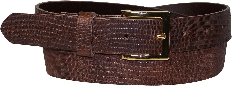 FRONHOFER reptile print women's belt crocembossed cowhide, gold square buckle, Size waist size 43.5 IN XL EU 110 cm, color Brown