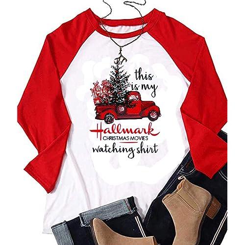 6f3cf02f This is My Hallmark Christmas Movie Watching Shirt Women Long Sleeve  Christmas Graphic Raglan Baseball Tee